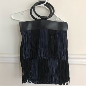 Anthropologie black & navy fringe purse